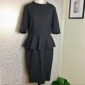 Lafayette 148 virgin wool peplum dress